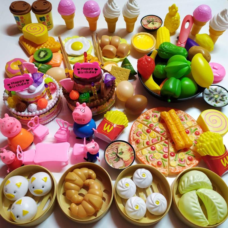 儿童仿真做饭过家家玩具女男孩购物车切切乐水果蔬菜厨房蛋糕