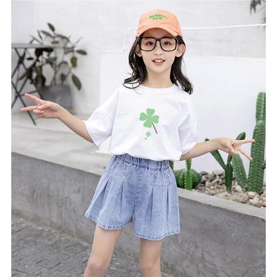 女童短袖牛仔短裤套装2021夏装女孩中大童小清新学生儿童两件套潮