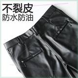 Men's leather pants, windproof, waterproof, oil-proof, wear-resistant, work wear, loose straight high waist pu leather pants plus velvet thickening