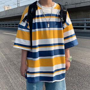 夏季韩版学生帅气五分袖男宽松短袖原宿风条纹t恤男装半袖上衣潮