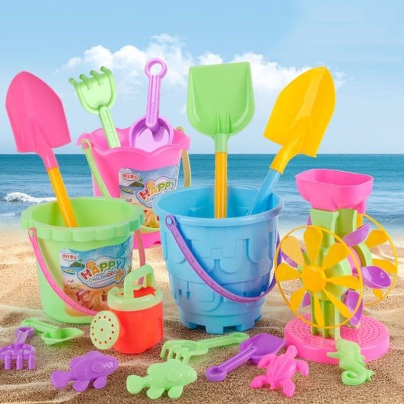 加厚沙滩玩具套装 益智儿童玩具戏水沙漏决明子产子工具水桶水壶