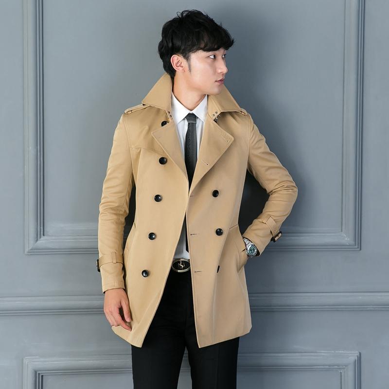 Mùa xuân, mùa thu và mùa đông mới Áo mỏng Hàn Quốc áo dài nam áo gió hợp thời trang áo ngực đôi kinh doanh quần áo nam - Áo gió