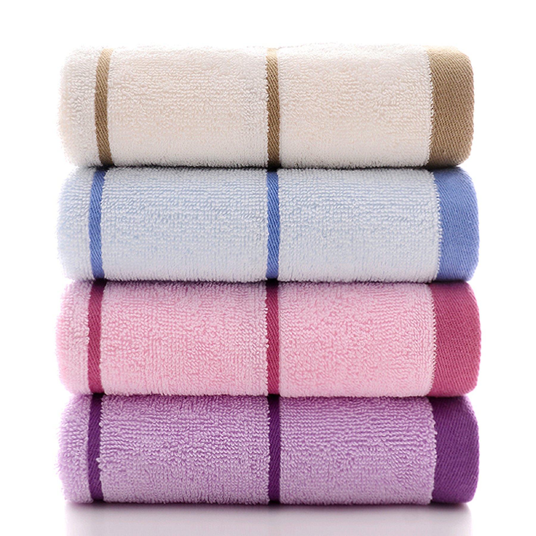 博越毛巾4条装 纯棉吸水柔软家用面巾加厚洗澡不掉毛全棉成人男女