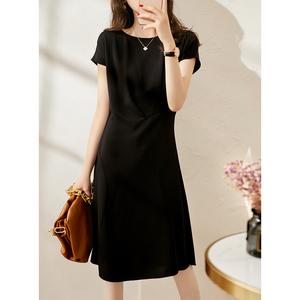 慕言缇2021夏季新法式气质显瘦自信魅力小黑裙一字领中长款连衣裙