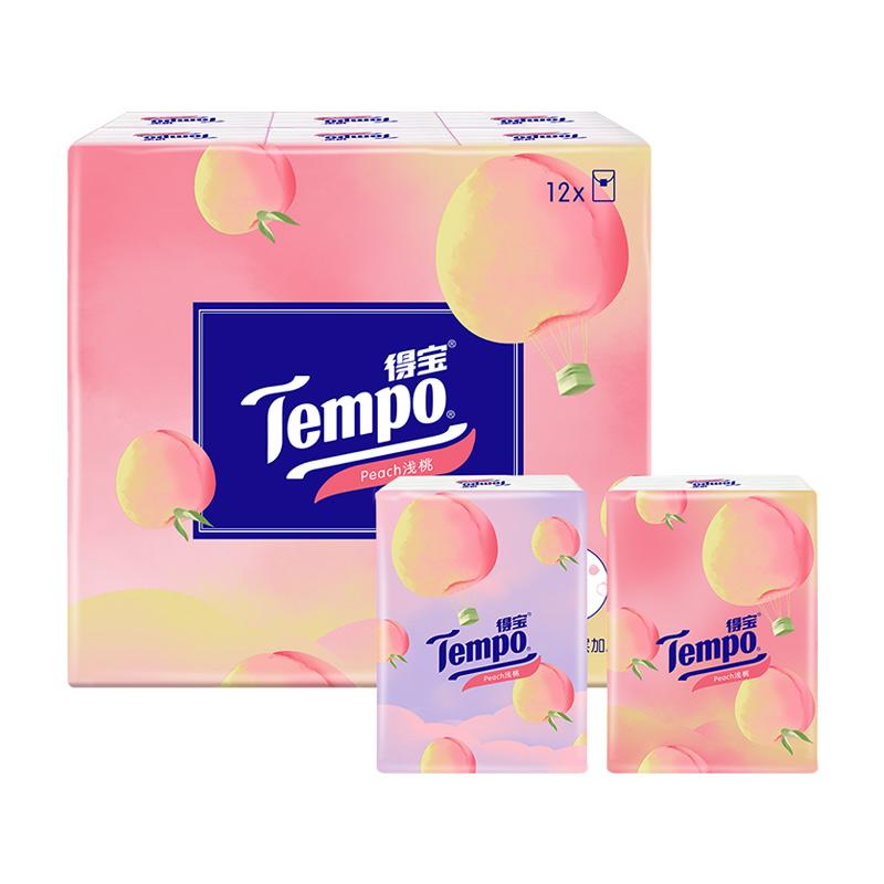 【拍2件】Tempo得宝加香手帕纸甜心桃4层12包便捷印花小包纸巾