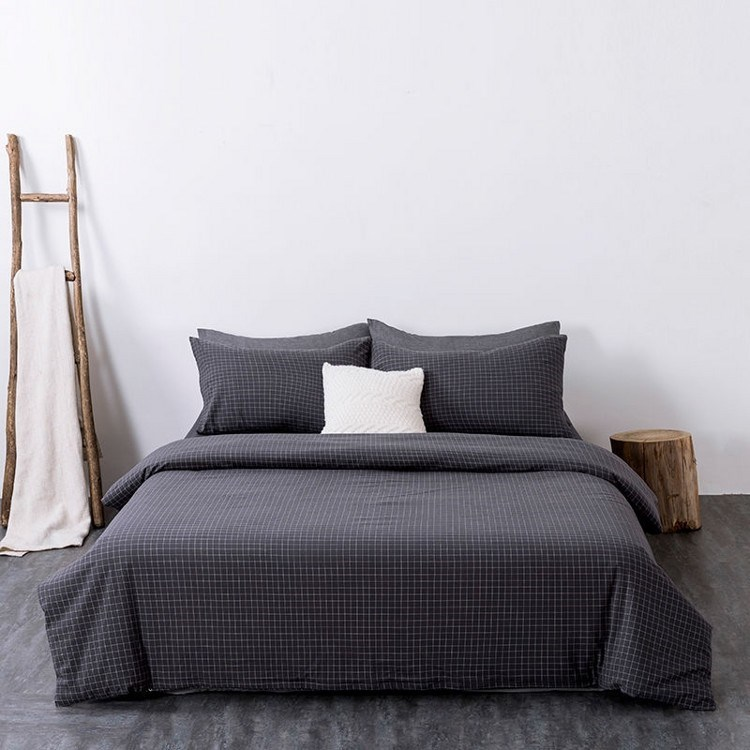 中國代購|中國批發-ibuy99|裸睡针织天竺棉床上三四件套全棉简约纯棉条纹被套床单床笠床品