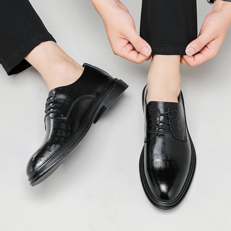 皮鞋男真皮商务正装夏季透气系带英伦休闲鞋西装尖头内增高结婚鞋