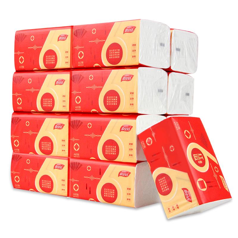 柔中洁18包*440张加厚大包抽纸整箱