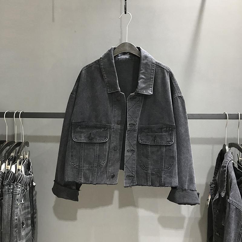 欧洲站宽松休闲短款牛仔外套女2019秋季新款黑色毛边长袖夹克上衣