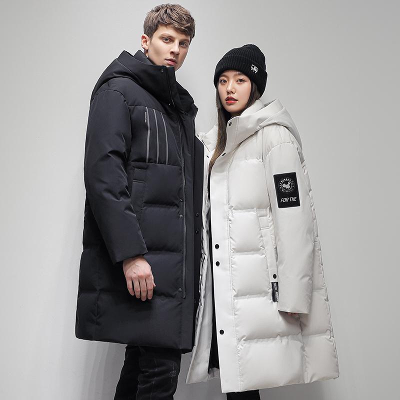 雅鹿情侣装羽绒服男女同款90白鸭绒保暖中长款潮流百搭连帽外套冬