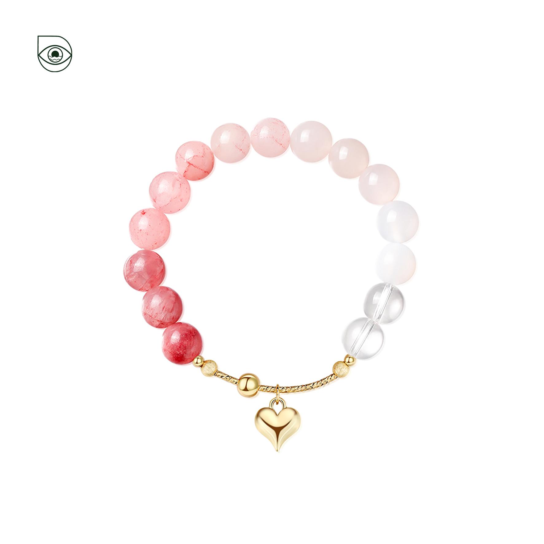 汐之酡颜招桃花手链粉色渐变水晶ins原创小众设计款女转运珠手串