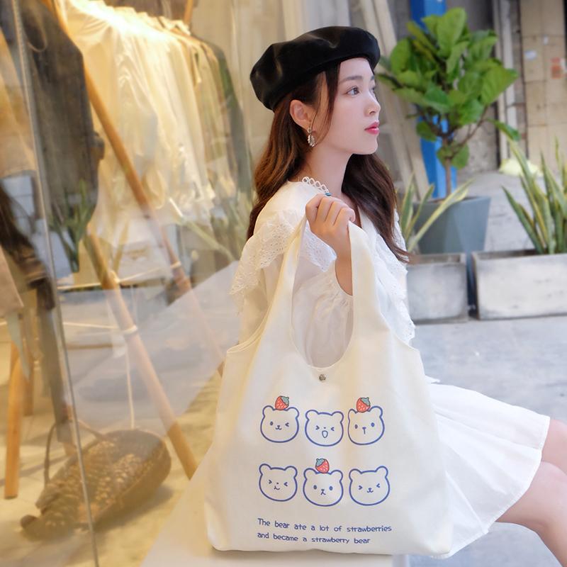秋冬2021新款女夏帆布包小众设计韩风ins大容量单肩购物袋通勤包