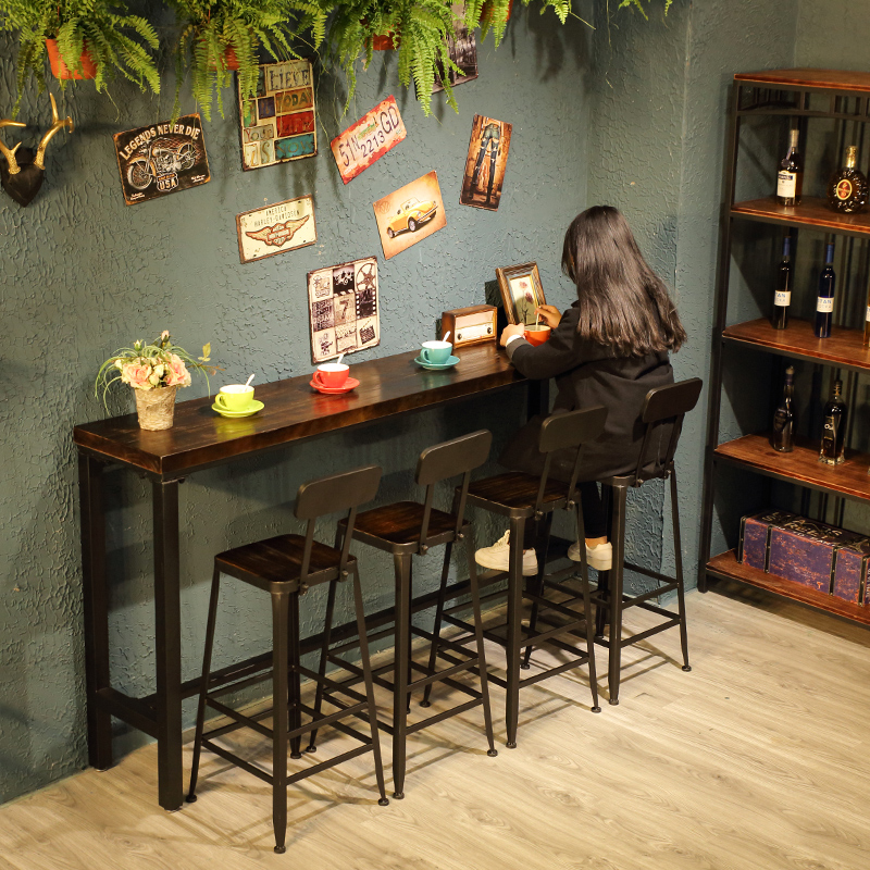 Vintage Wall To Wall Casual Coffee Table Water Bar Wrought Iron Bar Table  Home