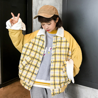 Winter women's new Korean version of the two sides wearing Harajuku bf wind loose plaid lamb loose loose jacket students