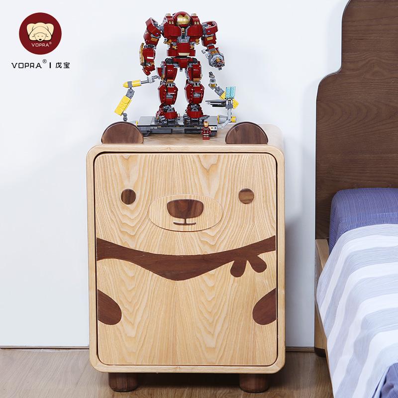 戊寶 卡通小熊實木床頭柜兒童房小孩臥室床邊柜男孩女孩小柜子