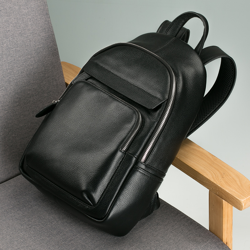 3d491d193a4b Leather Men s small backpack shoulder bag Korean fashion trend bag Mini  British casual street leather New