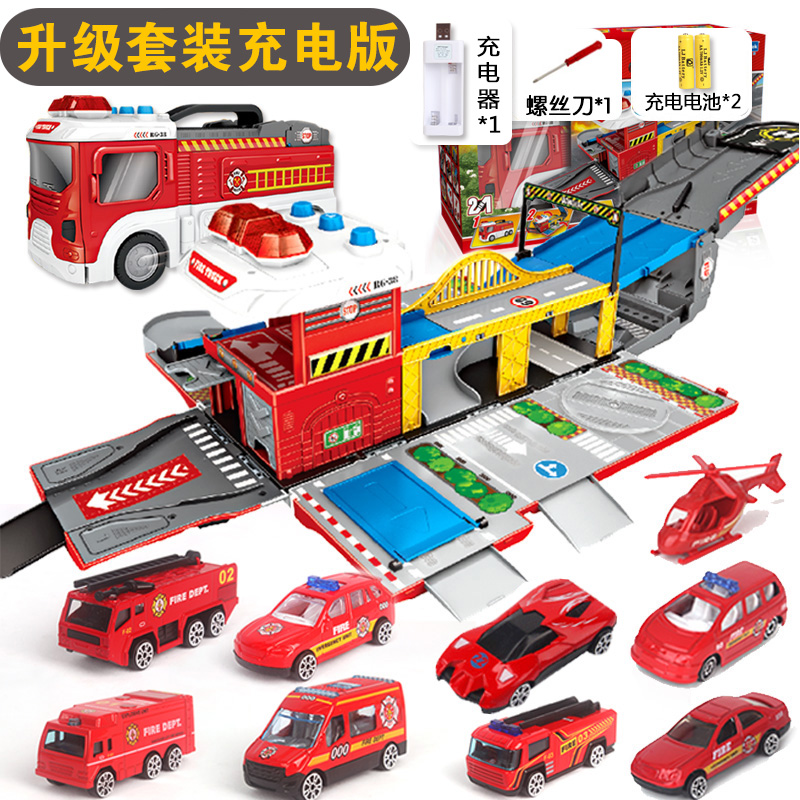 DEFORMATION SCENE FIRE TRUCK | WITH 8 CAR +1 AIRCRAFT | CHARGING VERSION