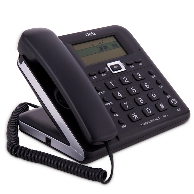 Capable telephone home office cable landline phone hands-free voice  broadcast call display alarm clock creative fashion