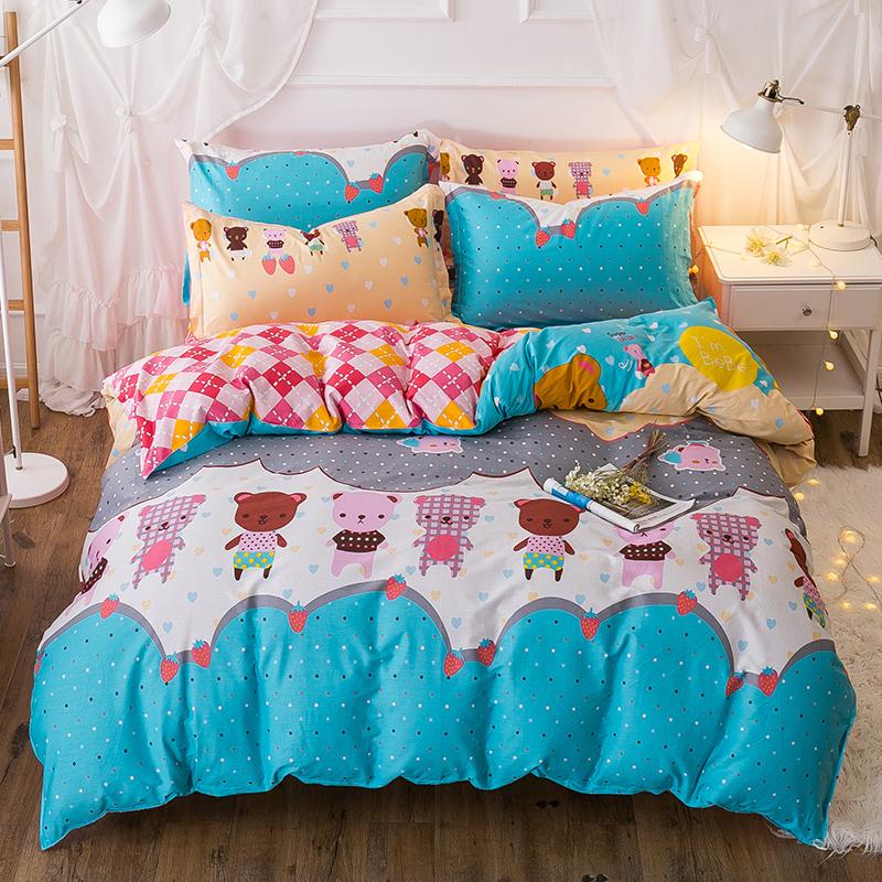 纯棉四件套全棉网红简约床上用品学生三件套床单被套1.5m1.8米床