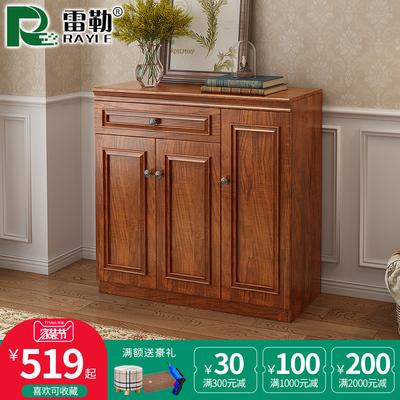 中式鞋柜簡約現代門廳柜美式鞋柜玄關柜實木框大容量客廳對開門柜