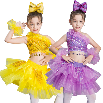 Girls ballet dresses yellow violet sequin jazz singers chorus modern dance dresses dancewear