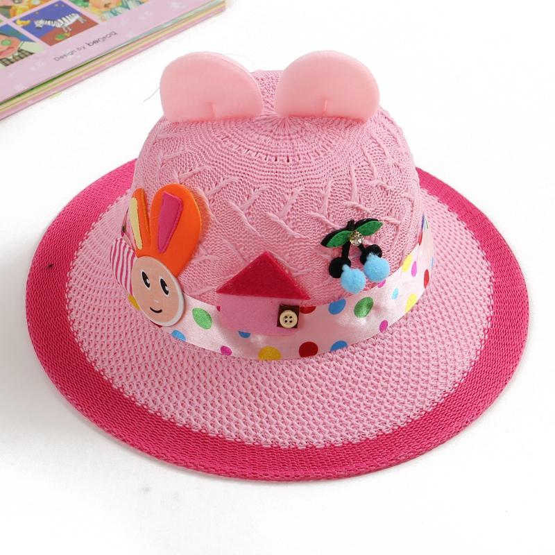 Children s straw hat spring and summer female baby hat sun hat beach hat  little girl princess f955658b812b