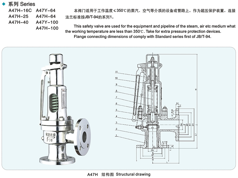 A47H Flanged type Spring loaded safety valve design