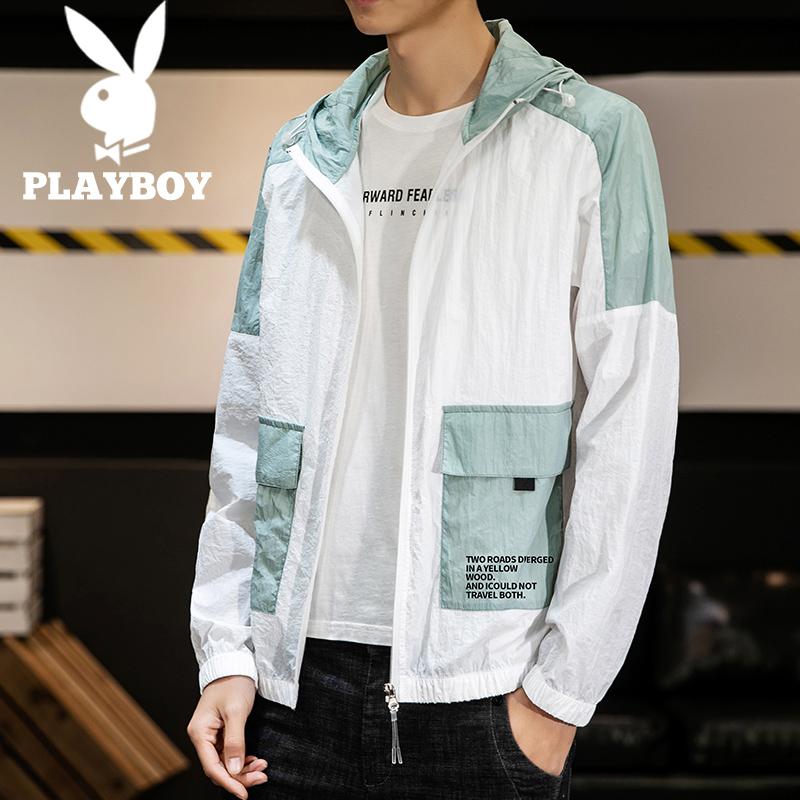 Playboy mùa hè mỏng trùm đầu áo khoác giản dị nam mùa hè áo khoác nam mỏng chống nắng dụng cụ da quần áo thủy triều - Áo khoác đôi