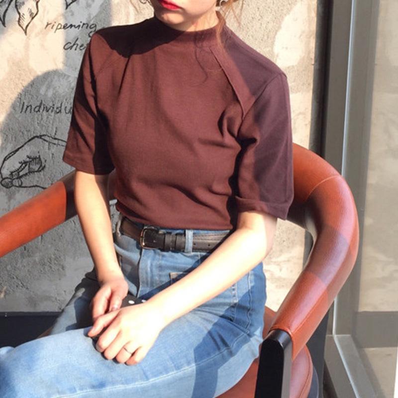 2019春夏新款女装简约新款棉质立领百搭显瘦短袖纯色修身上衣T恤