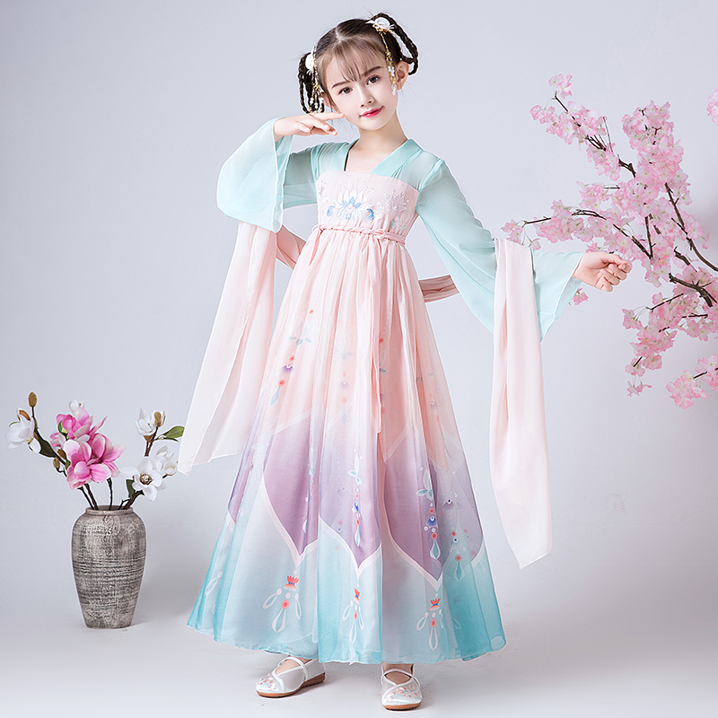 Ancient style girls wear Chinese clothes, children's Tang clothes, Chinese style dresses