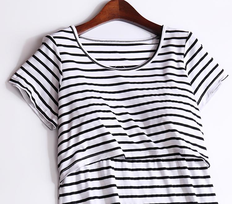 莫代尔哺乳洋装孕妇睡裙短袖睡衣哺乳衣服产后外出辣妈夏季裙子详细照片