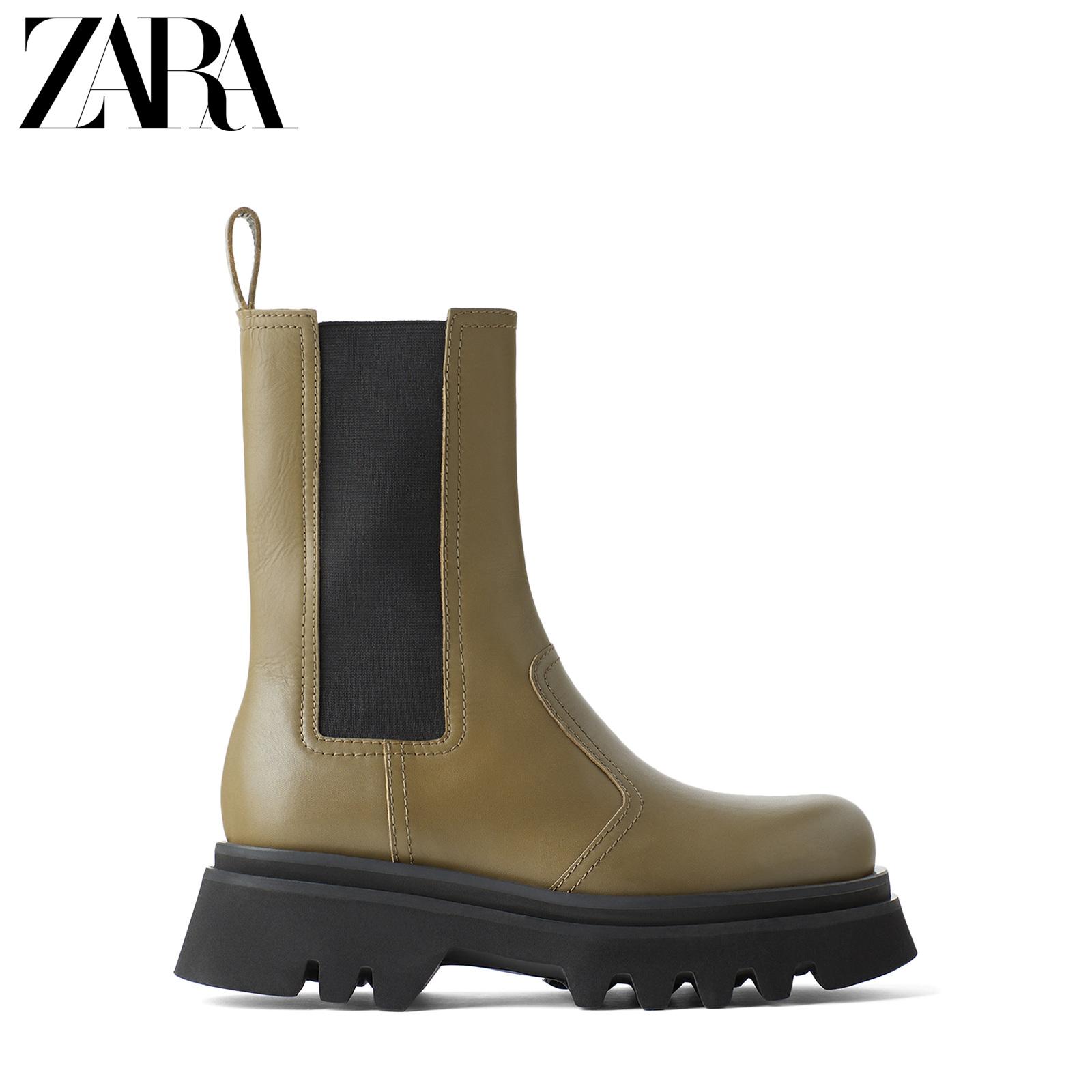 ZARA 新款 女鞋 绿色沟纹鞋底牛皮革真皮切尔西短靴 11112510030