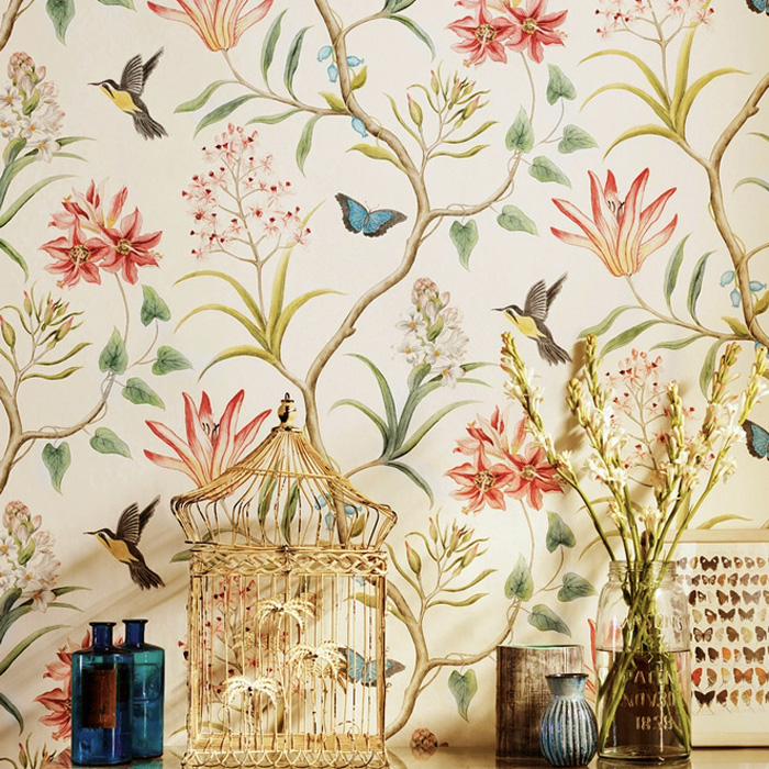 American country flowers and birds pastoral non-woven wallpaper bedroom living room TV background wall warm imported wallpaper