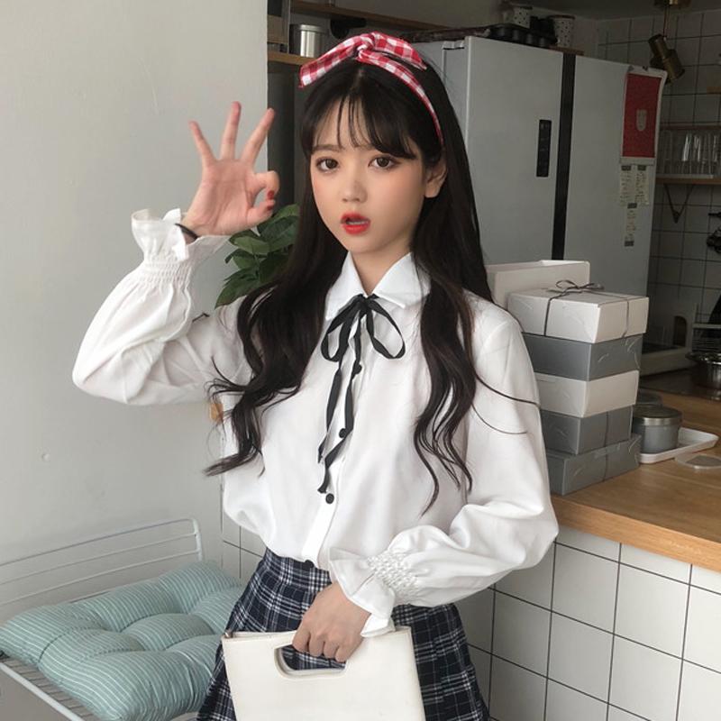 秋装新款女装韩版小清新纯色百搭上衣蝴蝶结系带衬衫学生长袖衬衣