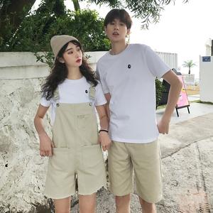 實拍現貨情侶裝同色系白色短袖加男牛仔中褲女背帶牛仔褲