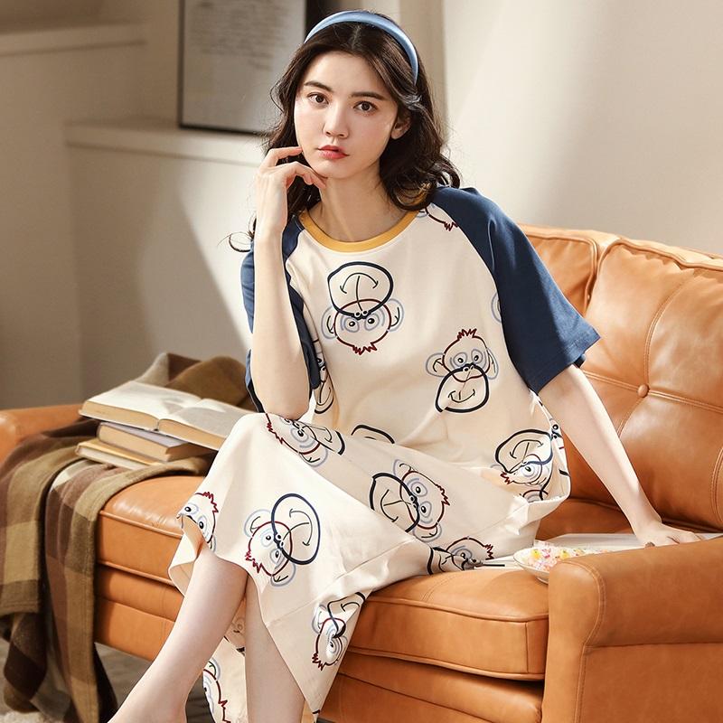 女生短袖睡裙夏季睡衣纯棉薄款圆领甜美可爱少女风短裙长款家居服