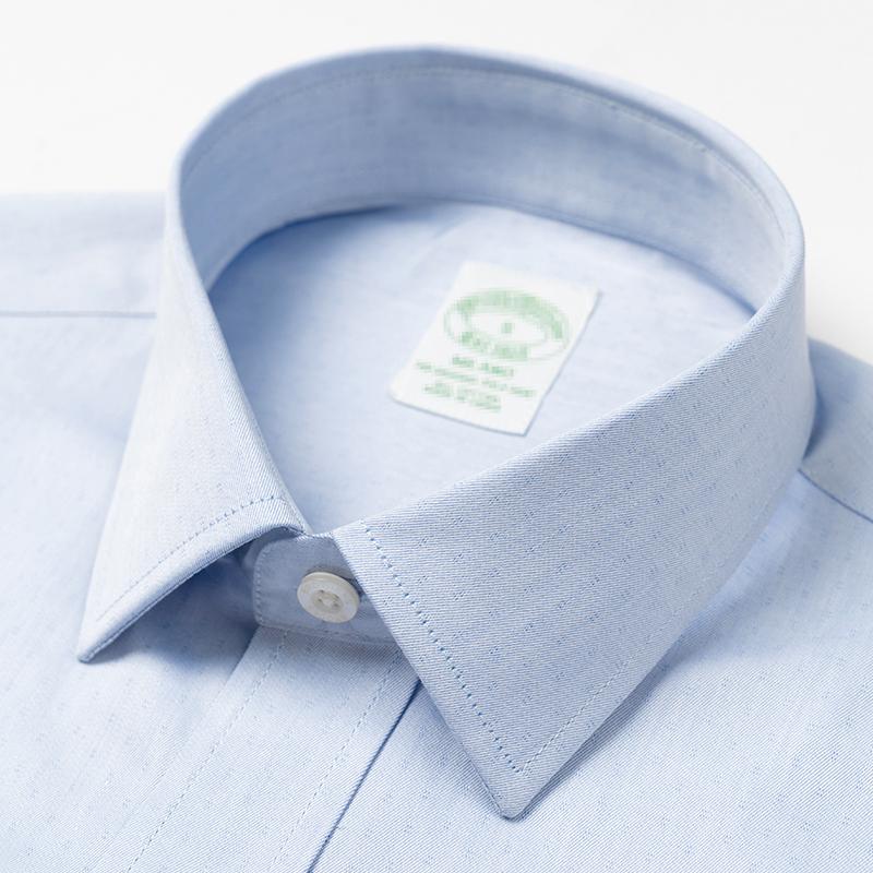Mùa hè cotton tinh khiết nam áo sơ mi ngắn tay cộng với kích thước màu xanh chuyên nghiệp kinh doanh phương tây phù hợp với áo sơ mi nam chính thức chuyên nghiệp - Áo