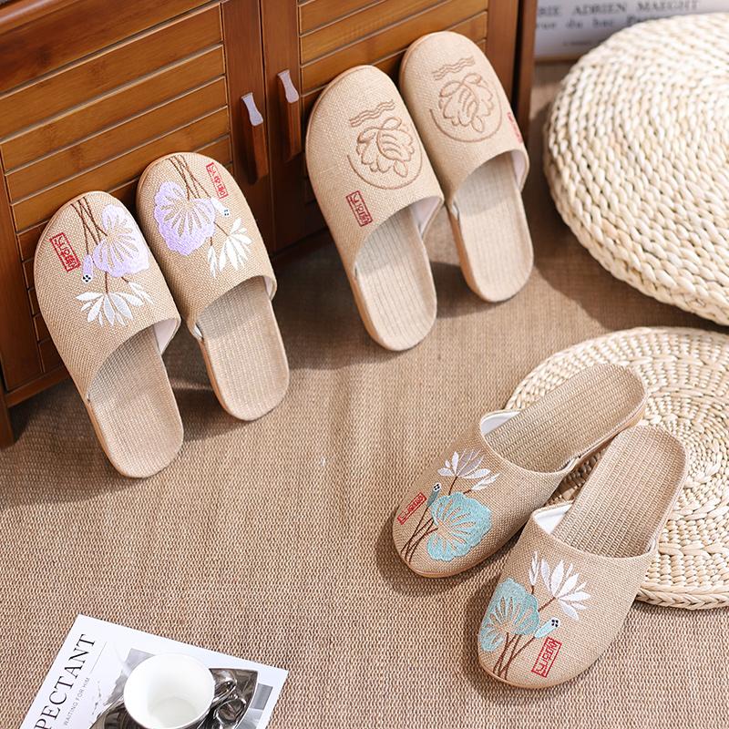 夏季亚麻包头拖鞋女情侣居家室内防滑软底地板凉拖鞋四季家居男士
