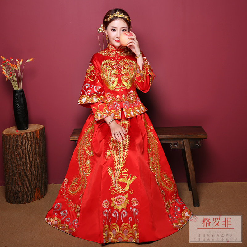 Xiu wo suit 2018 new wedding toast dress bridal dresses chinese wedding dress antique wedding dress show kimono embroidery wo suit