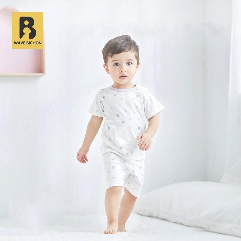 【浪比熊】夏季纯棉短袖儿童睡衣套装