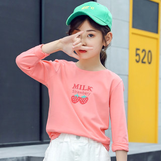 2020 new children's clothing girls long-sleeved T-shirt Children's Spring and Autumn coat baby spring big virgin cotton shirt