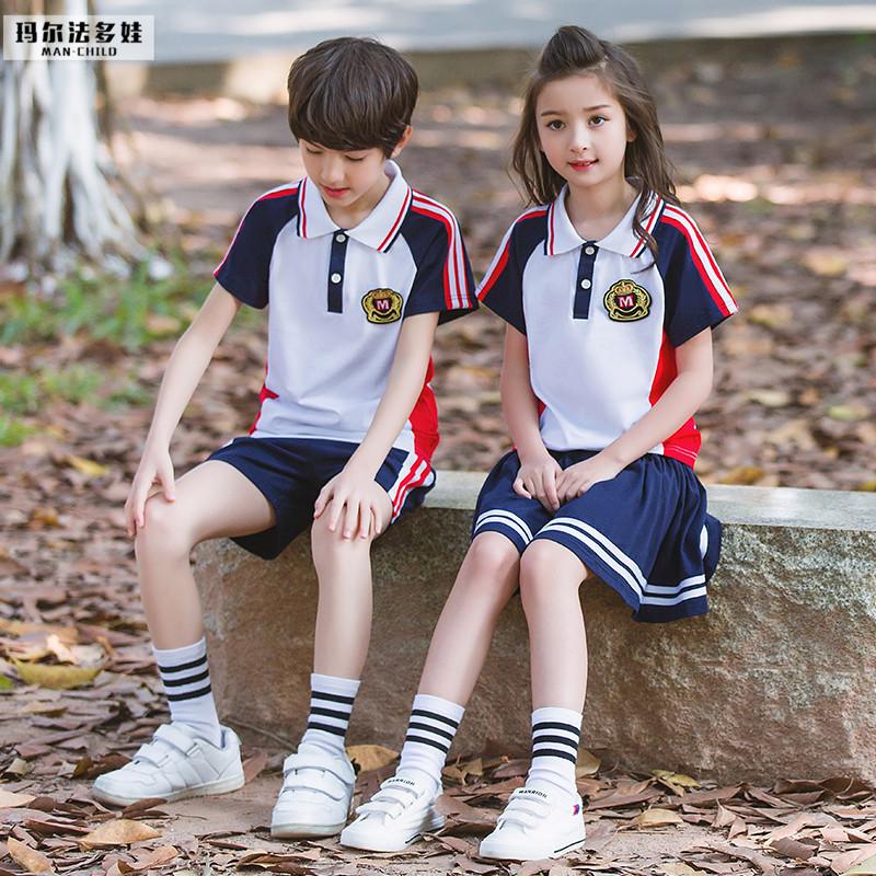 Dịch vụ lớp thể thao tốt nghiệp quần áo mẫu giáo quần áo mùa hè ăn mặc nam giới và phụ nữ quần áo trẻ em mùa hè tùy chỉnh trường tiểu học đồng phục phù hợp với