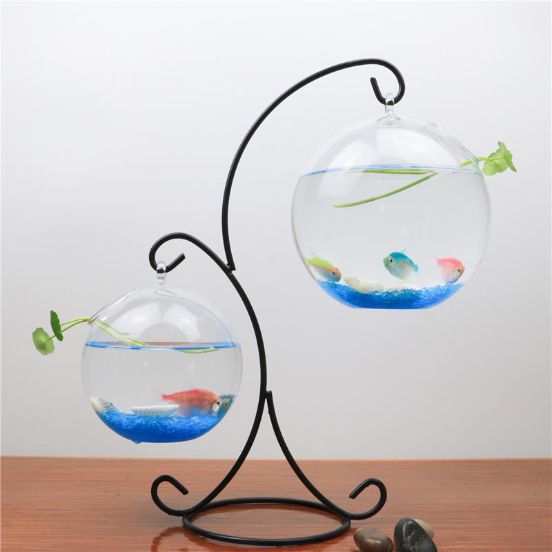 创意家居装饰悬挂办公桌面斗鱼缸摆件透明玻璃小型迷你圆形金鱼缸_领取2.00元淘宝优惠券