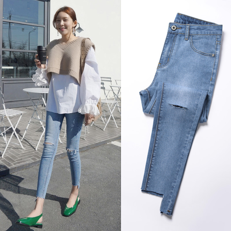 2019 new summer Network red Hole thin jeans female nine points Korean version was thin wild high waist pants