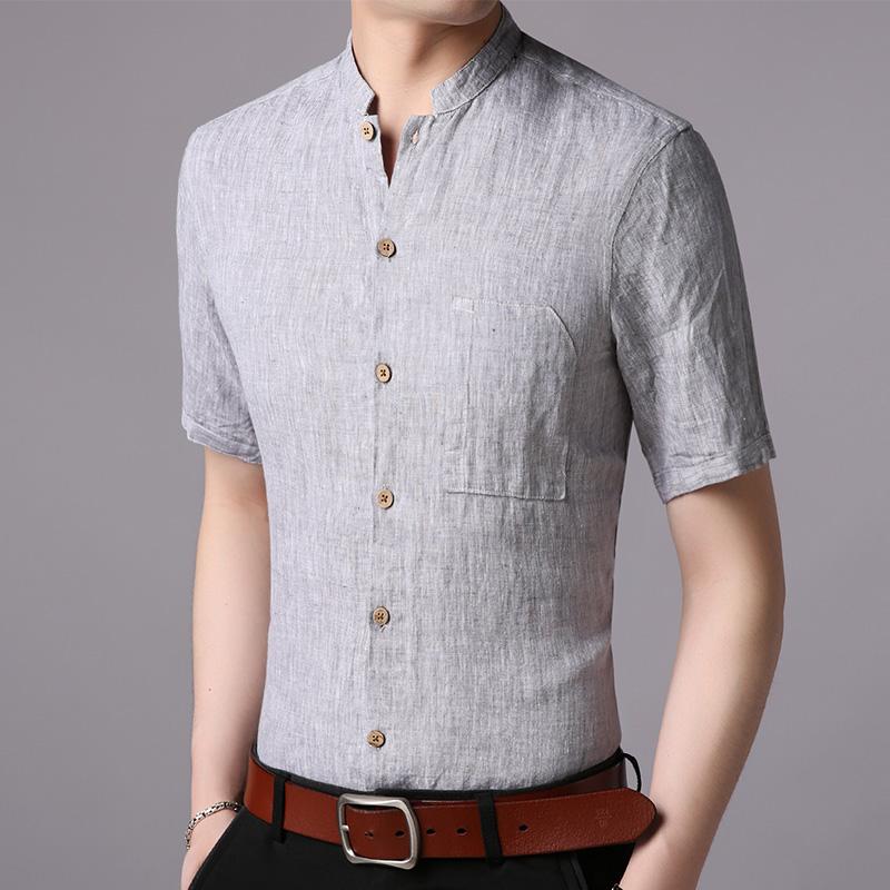 莱克茜男亚麻短袖衬衫夏天中年夏装宽松