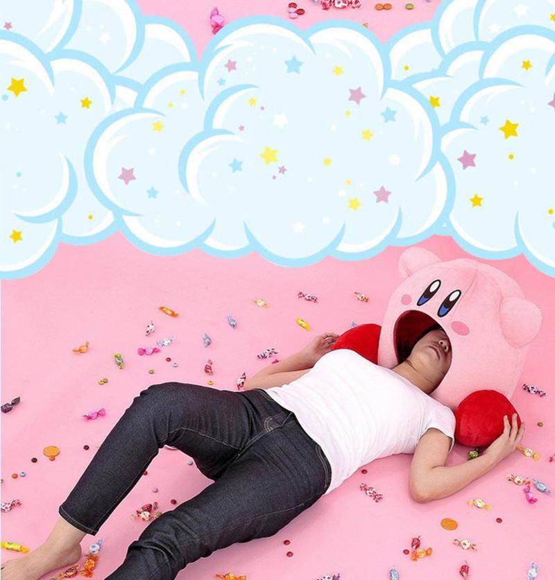 Cute Game Kirby Siesta Plush Sleep Pillow Toe Box Toy Pet Bed Soft Cosplay Gift