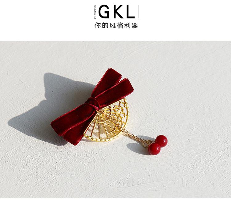 小姐原创设计丝绒蝴蝶结扇子日系红珍珠边夹超仙髮夹髮饰详细照片