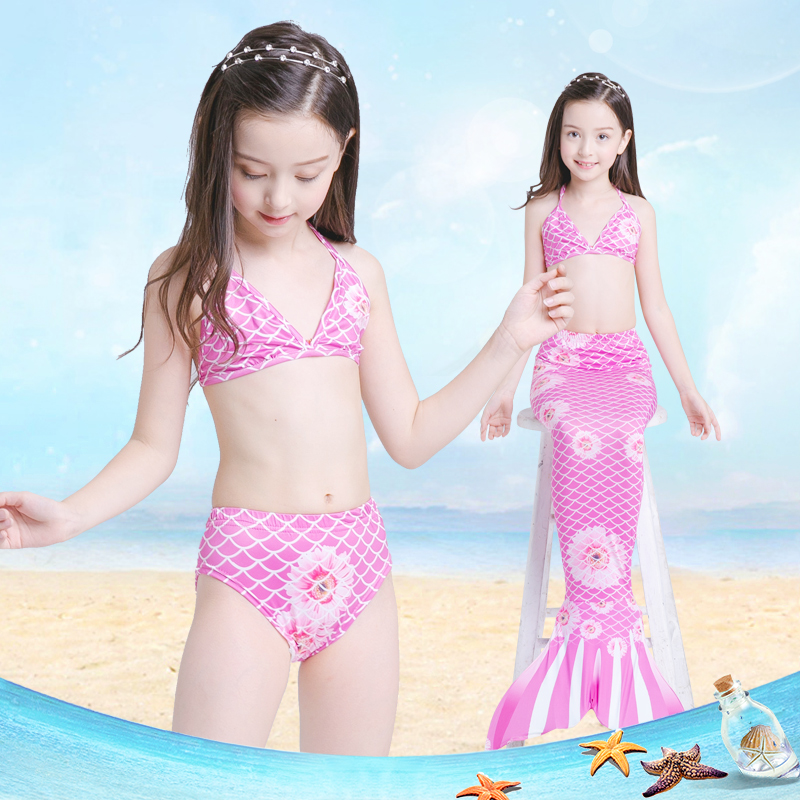 Mother & Kids 2018 Mermaid Swimsuit Split Childrens Swimsuit Three-piece Girls Can Swim Swimwear Europe And America Bikini Can Add Ankle To Have A Long Historical Standing