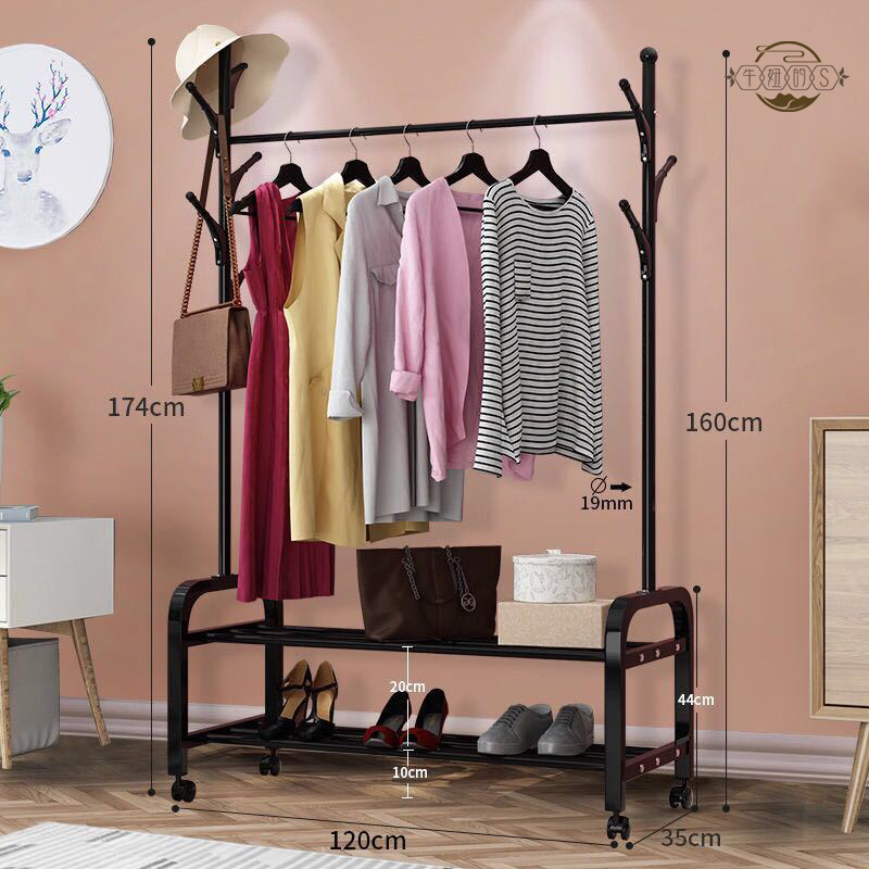 Simple single-bar clothes hanger indoor and outdoor hanger multi-functional clothes rack hood rack floor-to-ceiling storage rack