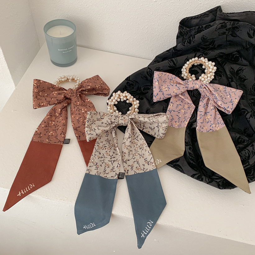 Korea fashion scarf bow pearl hair scrunchies  NHCQ333051
